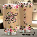 Turtle Flower Stainless Steel Tumbler Perfect Gifts For Sea Turtle Lover Tumbler Cups For Coffee/Tea, Great Customized Gifts For Birthday Christmas Thanksgiving