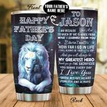 Personalized Lion Dad From Son Daughter I Am Because You Are Stainless Steel Tumbler Perfect Gifts For Lion Lover Tumbler Cups For Coffee/Tea, Great Customized Gifts For Birthday Christmas Thanksgiving Father's Day