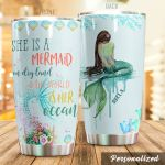 Personalized She Is A Mermaid On Dry Land Stainless Steel Tumbler Perfect Gifts For Mermaid Lover Tumbler Cups For Coffee/Tea, Great Customized Gifts For Birthday Christmas Thanksgiving