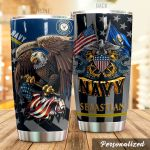 Personalized US Navy Army Stainless Steel Tumbler Perfect Gifts For Navy Army Tumbler Cups For Coffee/Tea, Great Customized Gifts For Birthday Christmas Thanksgiving