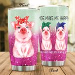 Pigs Make Me Happy Stainless Steel Tumbler Perfect Gifts For Pig Lover Tumbler Cups For Coffee/Tea, Great Customized Gifts For Birthday Christmas Thanksgiving
