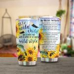 Sunflower She's A Wild Child Stainless Steel Tumbler Perfect Gifts For Sunflower Lover Tumbler Cups For Coffee/Tea, Great Customized Gifts For Birthday Christmas Thanksgiving