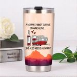 Camping A Woman Cannot Survive On Wine Alone Stainless Steel Tumbler Perfect Gifts For Camping Lover Tumbler Cups For Coffee/Tea, Great Customized Gifts For Birthday Christmas Thanksgiving