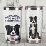 Border Collie Dog Happiness Is A Collie's Smile Stainless Steel Tumbler Perfect Gifts For Dog Lover Tumbler Cups For Coffee/Tea, Great Customized Gifts For Birthday Christmas Thanksgiving