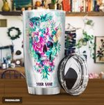 Personalized Flower Skull Parrot Stainless Steel Tumbler Perfect Gifts For Skull Lover Tumbler Cups For Coffee/Tea, Great Customized Gifts For Birthday Christmas Thanksgiving