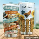Personalized Rooster Farm House Rules Stainless Steel Tumbler Perfect Gifts For Farmer Tumbler Cups For Coffee/Tea, Great Customized Gifts For Birthday Christmas Thanksgiving