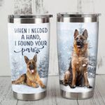 German Shepherd Dog On Snow I Found Your Paw Dog Print Stainless Steel Tumbler Perfect Gifts For Dog Lover Tumbler Cups For Coffee/Tea, Great Customized Gifts For Birthday Christmas Thanksgiving