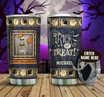 Personalized Skull Halloween Trick Or Treat Stainless Steel Tumbler Perfect Gifts For Skull Lover Tumbler Cups For Coffee/Tea, Great Customized Gifts For Birthday Christmas Thanksgiving Halloween