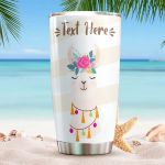 Personalized Flower Llama Closing Eyes Stainless Steel Tumbler Perfect Gifts For Llama Lover Tumbler Cups For Coffee/Tea, Great Customized Gifts For Birthday Christmas Thanksgiving