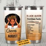 Personalized Black Girl Queens Are Born In Stainless Steel Tumbler Tumbler Cups For Coffee/Tea, Great Customized Gifts For Birthday Christmas Thanksgiving
