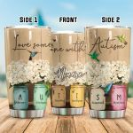 Personalized Love Someone With Autism Stainless Steel Tumbler Perfect Gifts For Autism Tumbler Cups For Coffee/Tea, Great Customized Gifts For Birthday Christmas Thanksgiving