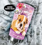 Personalized French Bulldog I Miss You Baby Flower Stainless Steel Tumbler Perfect Gifts For Dog Lover Tumbler Cups For Coffee/Tea, Great Customized Gifts For Birthday Christmas Thanksgiving