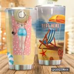 Personalized Beach A Girl Sunbaths On Beach Stainless Steel Tumbler Perfect Gifts For Beach Lover Tumbler Cups For Coffee/Tea, Great Customized Gifts For Birthday Christmas Thanksgiving