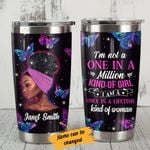 Personalized Black Girl Purple Butterfly Once In Lifetime Kind Of Woman Stainless Steel Tumbler Perfect Gifts For African American Tumbler Cups For Coffee/Tea, Great Customized Gifts For Birthday Christmas Thanksgiving