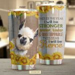 Personalized Llama This Year I Will Be Stronger Stainless Steel Tumbler Perfect Gifts For Llama Lover Tumbler Cups For Coffee/Tea, Great Customized Gifts For Birthday Christmas Thanksgiving