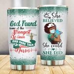 Black Girl Nurse She Believe She Could So She Did Green Sparkle Stainless Steel Tumbler Perfect Gifts For Nurse Tumbler Cups For Coffee/Tea, Great Customized Gifts For Birthday Christmas Thanksgiving