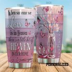 Personalized Breast Cancer Heaven In Our Home Stainless Steel Tumbler Perfect Gifts For Breast Cancer Awareness Tumbler Cups For Coffee/Tea, Great Customized Gifts For Birthday Christmas Thanksgiving