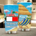 Personalized Teacher Just Waiting On Summer Vacation Stainless Steel Tumbler Perfect Gifts For Teacher Tumbler Cups For Coffee/Tea, Great Customized Gifts For Birthday Christmas Thanksgiving