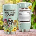 Just A Girl Who Loves Goats Stainless Steel Tumbler Perfect Gifts For Goat Lover Tumbler Cups For Coffee/Tea, Great Customized Gifts For Birthday Christmas Thanksgiving