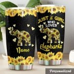 Personalized Elephant Sunflower Just A Girl Who Loves Elephants Black Stainless Steel Tumbler Perfect Gifts For Elephant Lover Tumbler Cups For Coffee/Tea, Great Customized Gifts For Birthday Christmas Thanksgiving
