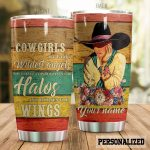 Personalized Cowgirls Are God's Wildest Angel Stainless Steel Tumbler Perfect Gifts For Cowgirl Tumbler Cups For Coffee/Tea, Great Customized Gifts For Birthday Christmas Thanksgiving