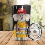 Personalized Firefighter Koala Stainless Steel Tumbler Perfect Gifts For Firefighter Tumbler Cups For Coffee/Tea, Great Customized Gifts For Birthday Christmas Thanksgiving