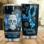 Personalized Diabetes Fighter Stainless Steel Tumbler Perfect Gifts For Diabetes Tumbler Cups For Coffee/Tea, Great Customized Gifts For Birthday Christmas Thanksgiving