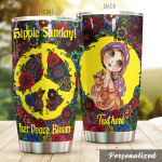 Personalized Hippie Girl And Cat Sunday Let Peace Bloom Stainless Steel Tumbler Perfect Gifts For Hipppie Tumbler Cups For Coffee/Tea, Great Customized Gifts For Birthday Christmas Thanksgiving