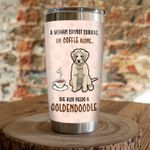 A Woamn Cannot Survive On Coffee Alone She Also Needs A Goldendoodle Stainless Steel Tumbler, Tumbler Cups For Coffee/Tea, Great Customized Gifts For Birthday Christmas Thanksgiving