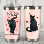 A Little Black Cat Goes With Everything Heart Pink Stainless Steel Tumbler Perfect Gifts For Cat Lover Tumbler Cups For Coffee/Tea, Great Customized Gifts For Birthday Christmas Thanksgiving