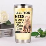 All You Need Is Love And Maine Coon Yellow Stainless Steel Tumbler Perfect Gifts For Cat Lover Tumbler Cups For Coffee/Tea, Great Customized Gifts For Birthday Christmas Thanksgiving
