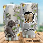 Personalized Elephant White Flower Butterfly Stainless Steel Tumbler Perfect Gifts For Elephant Lover Tumbler Cups For Coffee/Tea, Great Customized Gifts For Birthday Christmas Thanksgiving