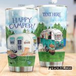 Personalized Happy Camper Stainless Steel Tumbler, Tumbler Cups For Coffee/Tea, Great Customized Gifts For Birthday Christmas Thanksgiving