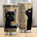 Black Cat Whatever Kitty Coffee Co Serve Yourself Stainless Steel Tumbler Perfect Gifts For Black Cat Lover Tumbler Cups For Coffee/Tea, Great Customized Gifts For Birthday Christmas Thanksgiving