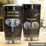 Personalized Elephant Positive Mind Positive Vibes Stainless Steel Tumbler Perfect Gifts For Elephant Lover Tumbler Cups For Coffee/Tea, Great Customized Gifts For Birthday Christmas Thanksgiving