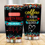 Nurse Safety First Drink With A Nurse Colorful Stainless Steel Tumbler Perfect Gifts For Nurse Tumbler Cups For Coffee/Tea, Great Customized Gifts For Birthday Christmas Thanksgiving