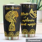 Personalized Black Women Mandala Made With Melanin And Magic Stainless Steel Tumbler Perfect Gifts For Daughter Girlfriend Wife Tumbler Cups For Coffee/Tea, Great Customized Gifts For Birthday Christmas Thanksgiving