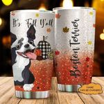 Personalized Boston Terrier It's Fall Y'all Autumn Maple Leaves Orange Sparkle Stainless Steel Tumbler Perfect Gifts For Baking Lover Tumbler Cups For Coffee/Tea, Great Customized Gifts For Birthday Christmas Thanksgiving