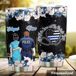 Personalized Nurse Police She Saves Lives He Protects Them Stainless Steel Tumbler Perfect Gifts For Nurse Police Tumbler Cups For Coffee/Tea, Great Customized Gifts For Birthday Christmas Thanksgiving Wedding Valentine's Day