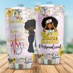 Personalized Nurse Black Nurse Magic Not All Angels Have Wings Flower Stainless Steel Tumbler Perfect Gifts For Nurse Tumbler Cups For Coffee/Tea, Great Customized Gifts For Birthday Christmas Thanksgiving