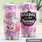 Personalized Baking My Therapy Pink Stand Mixer Stainless Steel Tumbler Perfect Gifts For Baking Lover Tumbler Cups For Coffee/Tea, Great Customized Gifts For Birthday Christmas Thanksgiving