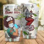 Personalized Black Girl Nurse Butterfly Stainless Steel Tumbler Perfect Gifts For Nurse Tumbler Cups For Coffee/Tea, Great Customized Gifts For Birthday Christmas Thanksgiving