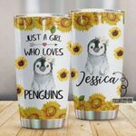 Personalized Sunflower Just A Girl Who Loves Penguins Stainless Steel Tumbler, Tumbler Cups For Coffee/Tea, Great Customized Gifts For Birthday Christmas Thanksgiving