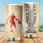 Basketball Player To Be Positive And Regret Nothing Stainless Steel Tumbler Perfect Gifts For Basketball Lover Tumbler Cups For Coffee/Tea, Great Customized Gifts For Birthday Christmas Thanksgiving