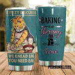Personalized Baking Baking Is My Therapy Kittzy Biscuits Ginger Cat Stainless Steel Tumbler Perfect Gifts For Baking Lover Tumbler Cups For Coffee/Tea, Great Customized Gifts For Birthday Christmas Thanksgiving