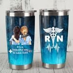 Nurse Bestie It's A Beautiful Day To Save Life Medical Symbol Stainless Steel Tumbler Perfect Gifts For Nurse Best Friend Tumbler Cups For Coffee/Tea, Great Customized Gifts For Birthday Christmas Thanksgiving