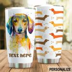 Personalized Dachshund Dog Stainless Steel Tumbler Perfect Gifts For Dog Lover Tumbler Cups For Coffee/Tea, Great Customized Gifts For Birthday Christmas Thanksgiving