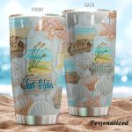 Personalized Beach Seashell Beach Sand Relax Stainless Steel Tumbler Perfect Gifts For Beach Lover Tumbler Cups For Coffee/Tea, Great Customized Gifts For Birthday Christmas Thanksgiving