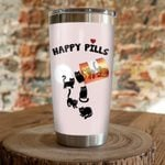 Black Cat Happy Pills Pink Stainless Steel Tumbler Perfect Gifts For Cat Lover Tumbler Cups For Coffee/Tea, Great Customized Gifts For Birthday Christmas Thanksgiving