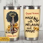 Personalized Black Girl Made With Melanin And Magic Stainless Steel Tumbler Perfect Gifts For Sunflower Lover Tumbler Cups For Coffee/Tea, Great Customized Gifts For Birthday Christmas Thanksgiving
